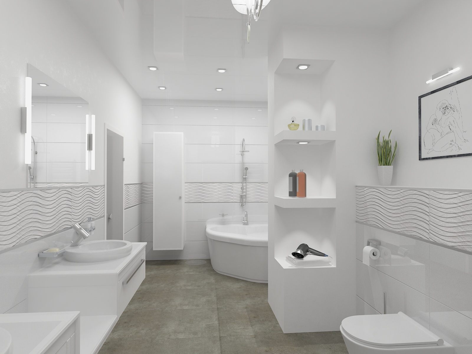 Квартира по адресу Салтыкова-Щедрина. Сан узел и ванна Светлые тона