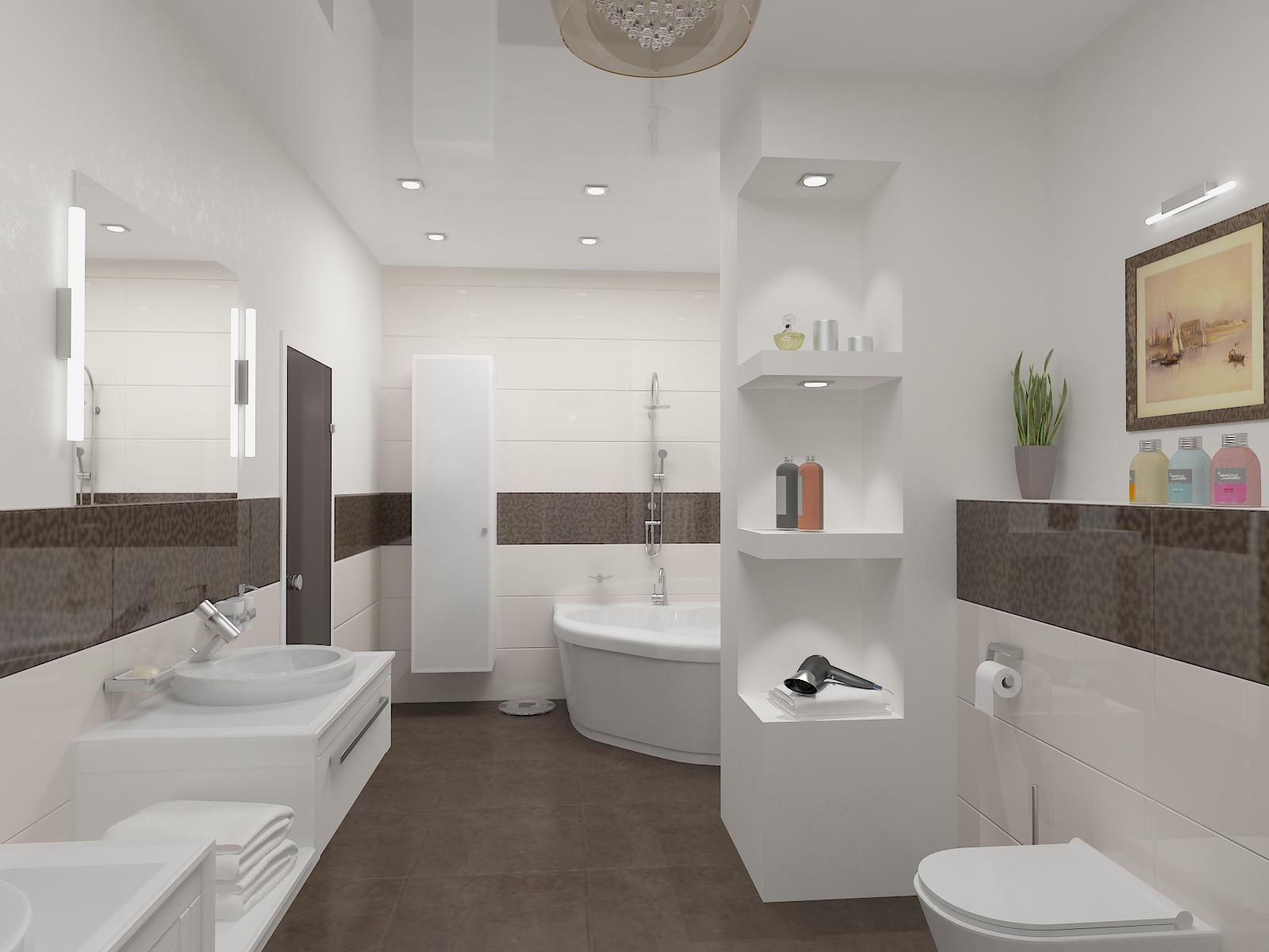 (Вариант) Квартира по адресу Салтыкова-Щедрина. Сан узел и ванна Светлые тона
